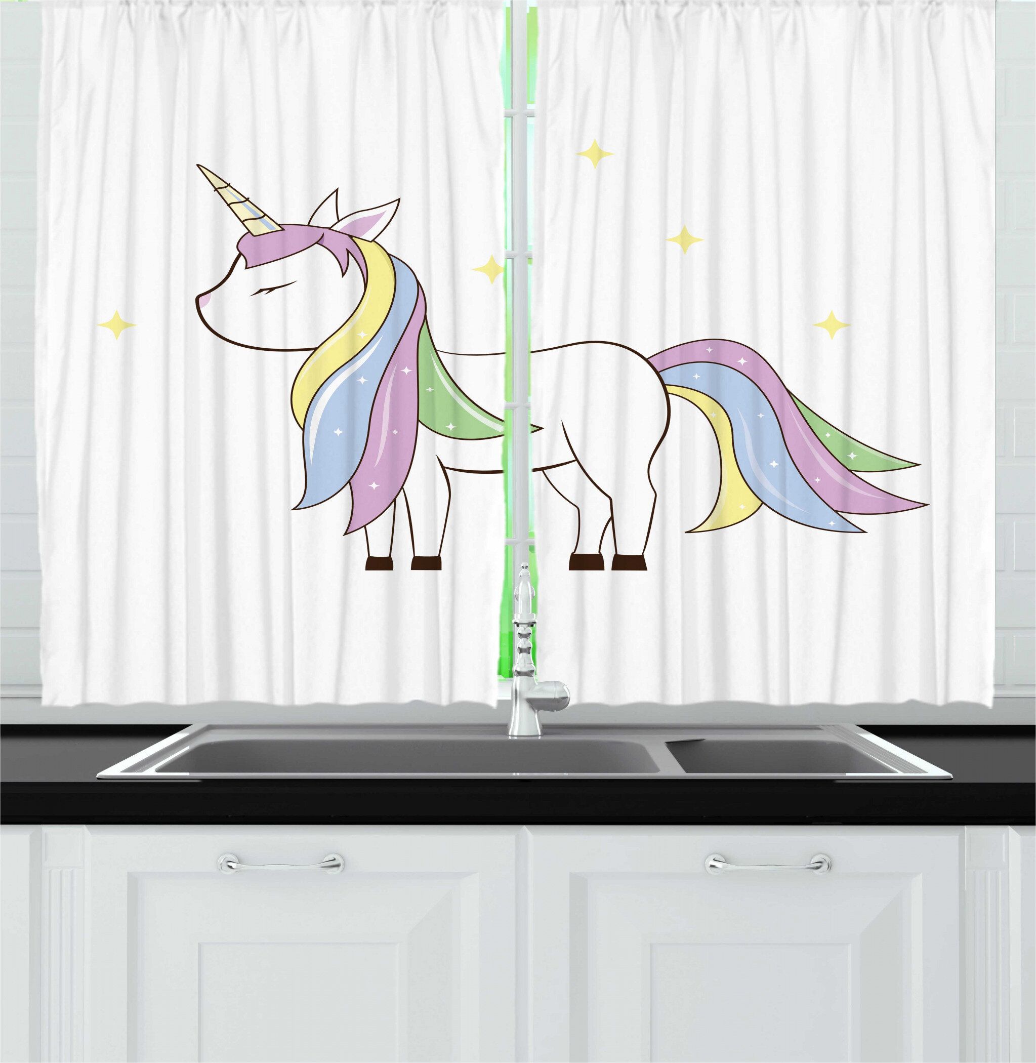 East Urban Home 2 Piece Unicorn Party Childish Simple Doodle Of A Stars And Happy Magic Maned Horse Kitchen Curtain Set Wayfair