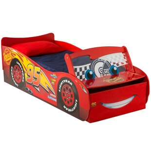 Disney Cars Lightening McQueen Toddler Car Bed With Storage Drawers And Light Up Windscreen