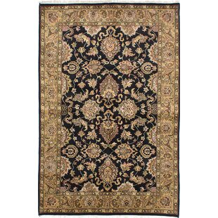 Check Prices One-of-a-Kind Halloran Hand-Knotted Black Area Rug By Isabelline