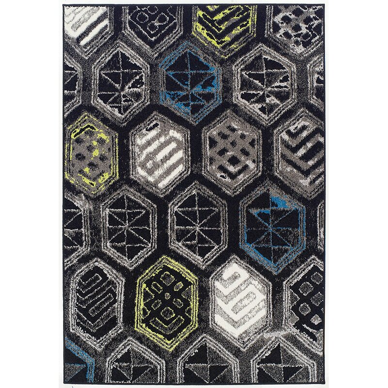 Ebern Designs Melbourne Wool Black Area