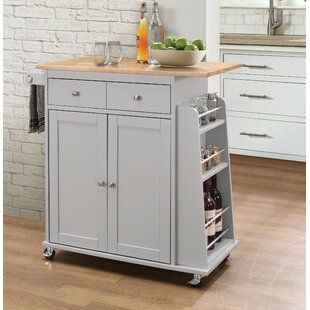 Rodolfo Kitchen Cart with Solid Wood Top Charlton Home