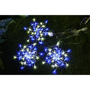 Outdoor 90 Light Snowflake String Lights (Set Of 3)