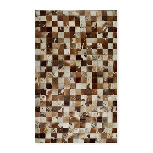 Coupon Aayush Four Square Patch Hand-Woven Cowhide Brown/White Area Rug By 17 Stories