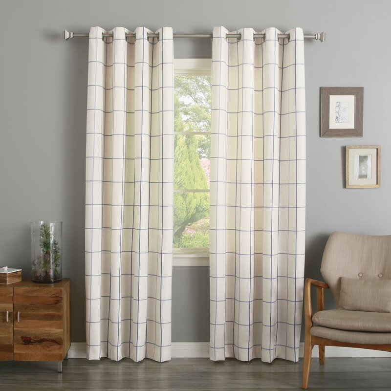 Willa Checker Print Semi Opaque Grommet Curtain Panel Pair
