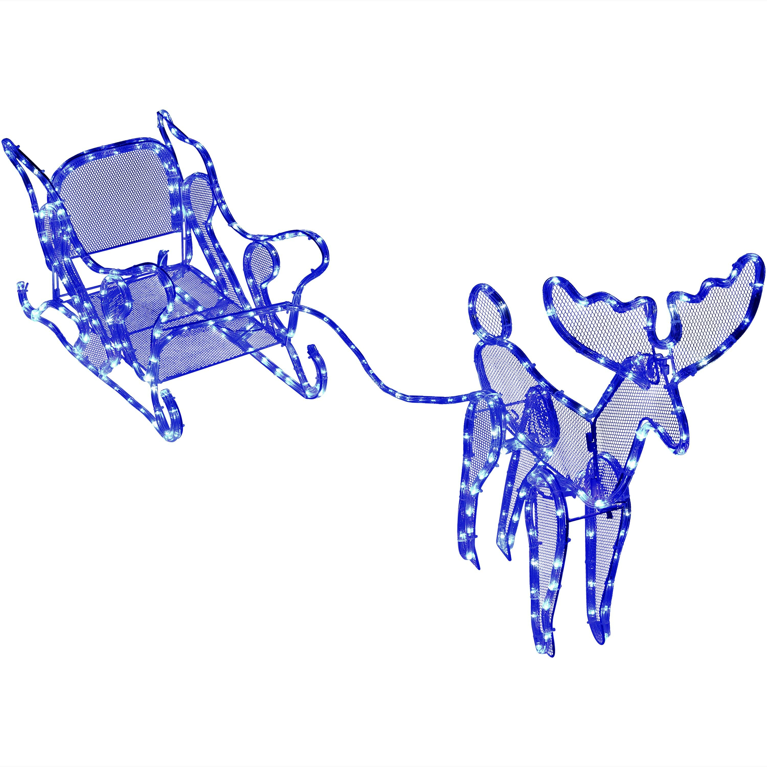 the holiday aisle outdoor sleigh with reindeer led lighted display