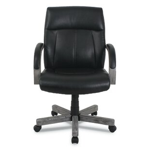 Otwell Wood Trim Genuine Leather Task Chair