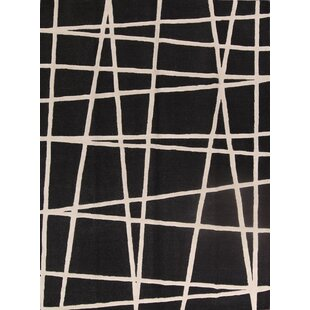Price Check One-of-a-Kind Oak Bluffs Moroccan Trellis Indian Hand-Tufted 9' x 12' Wool Black/White Area Rug By Isabelline