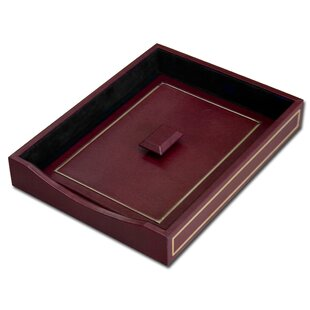 Inexpensive 5000 Series 24kt Gold Tooled Leather Front-Load Letter Tray with Lid in Burgundy By Dacasso
