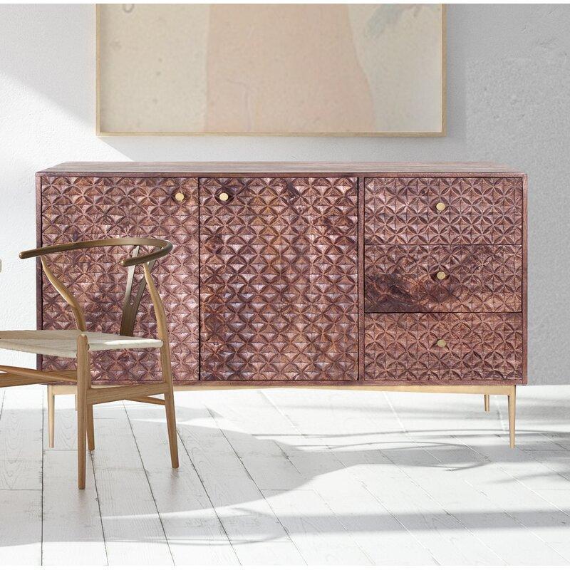 Corrigan Studio Kenton 56 Wide 3 Drawer Mango Wood Sideboard Wayfair