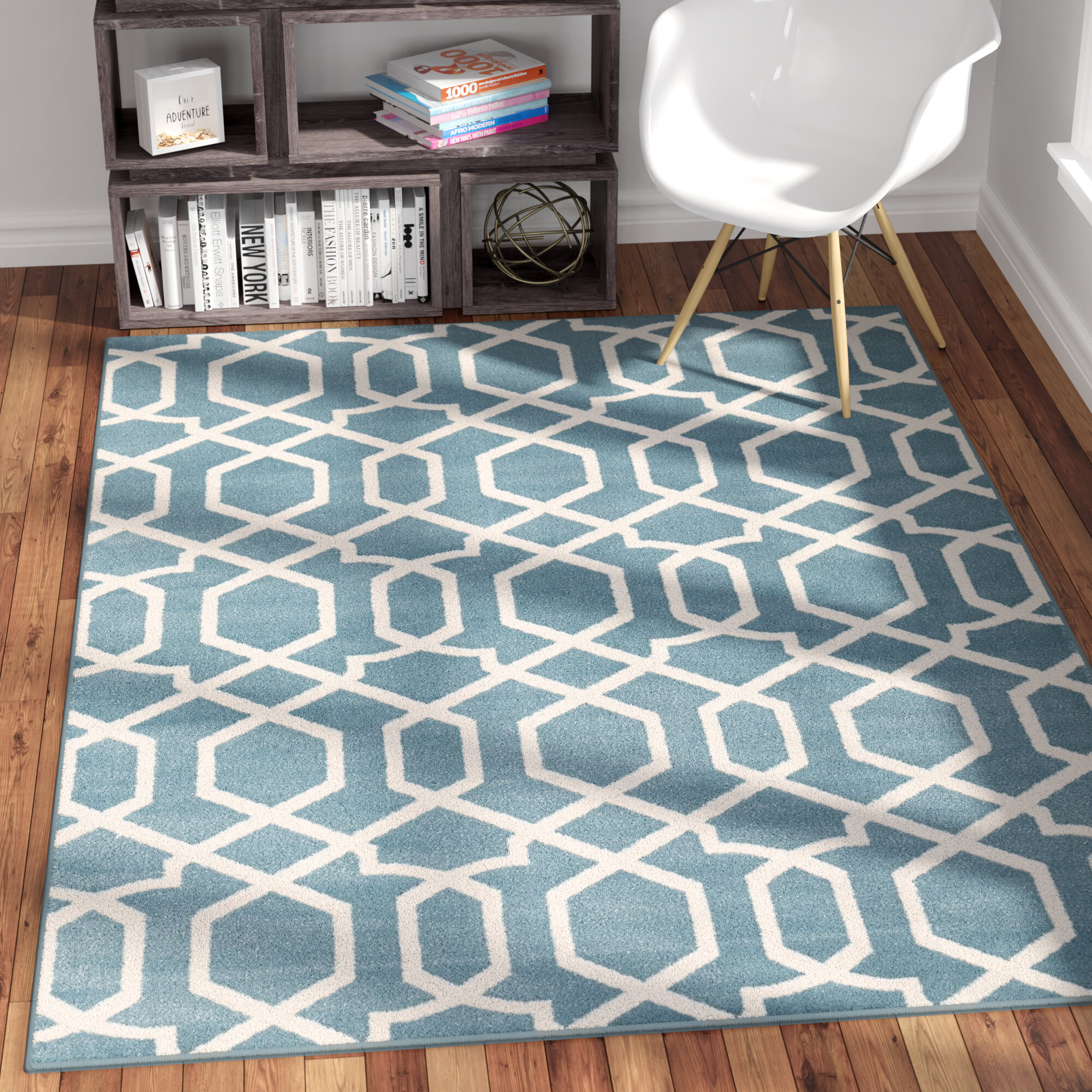 Andover Mills Wabon Geometric Blue Area Rug Reviews Wayfair