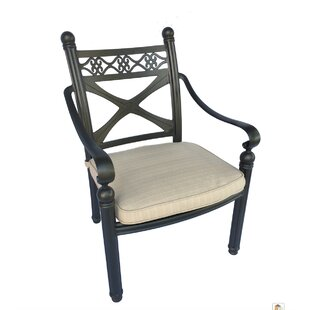 Crest Cast Stacking Patio Dining Chair with Cushion (Set of 4)