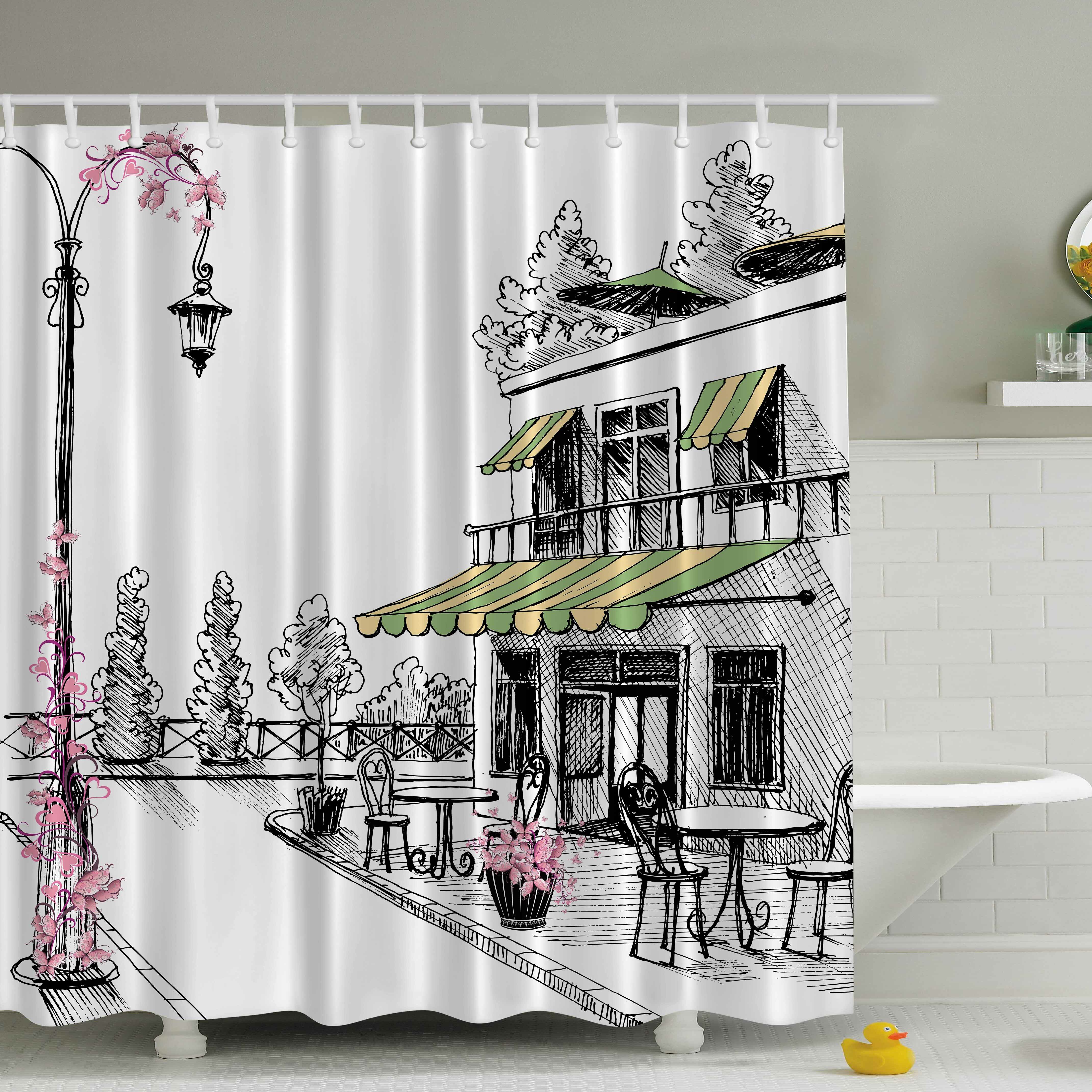 Polyester Street Cafe Pattern Shower Curtain Ring Hook Set Washable Fabric