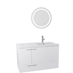 New Space 39 Single Bathroom Vanity Set with Mirror by Nameeks Vanities