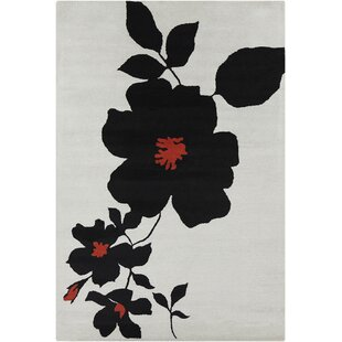 Savings Oritz Hand Tufted Wool White/Black Area Rug By Brayden Studio