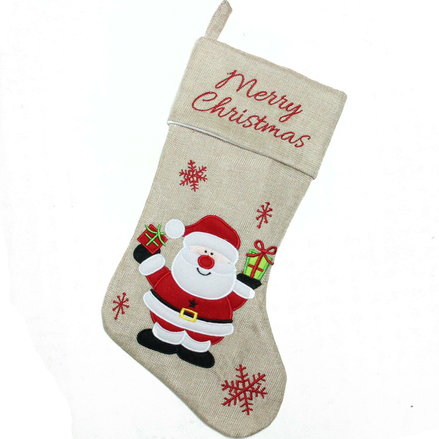 the holiday aisle burlap merry christmas santa claus embroidered christmas stocking wayfair