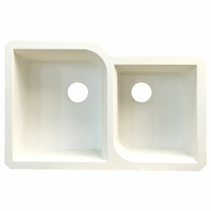 radius 31   x 20   granite double offset undermount kitchen sink transolid radius 31   x 20   granite double offset undermount      rh   wayfair com