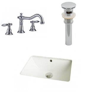 Savings Ceramic Rectangular Undermount Bathroom Sink with Faucet and Overflow By American Imaginations