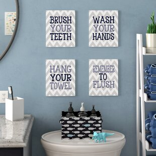 Pierce Chevron Bathroom Rules 4 Piece Textual Art Wall Plaque Set