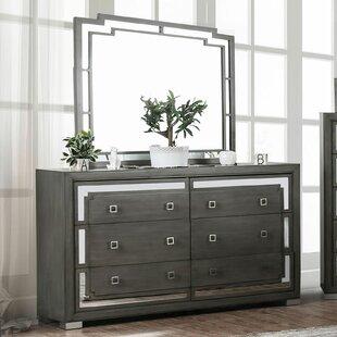 Vassilieva 6 Drawer Double Dresser with Mirror