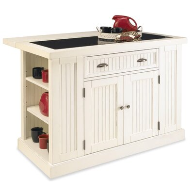 Rabin Kitchen Island with Granite Top Base Color: White by Beachcrest Home