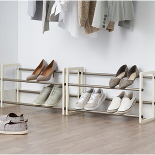 Read Reviews 2-Tier Expandable 20 Pair Stackable Shoe Rack By Rebrilliant