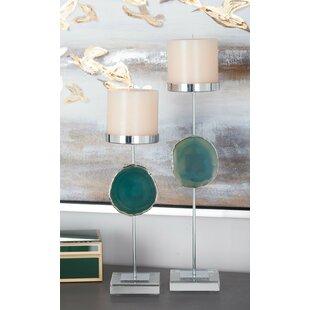 Agate 2 Piece Metal Candlestick Set