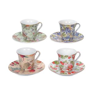 416b08a672 Cousins All Over Fruit and Flowers Trim 2 Piece Tea Cup & Saucer Set (Set  of 6)