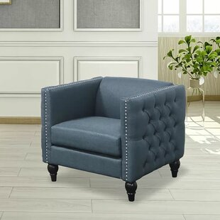 Schurman Tufted Contemporary Nailhead Blue Armchair by Canora Grey