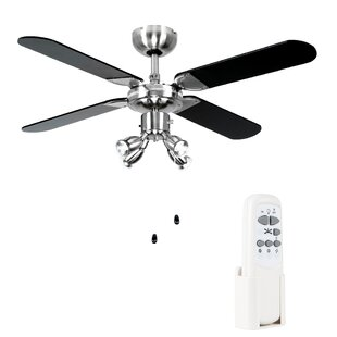 Ceiling fans remote control with lights wayfair 106cm scimitar 4 blade ceiling fan publicscrutiny Choice Image