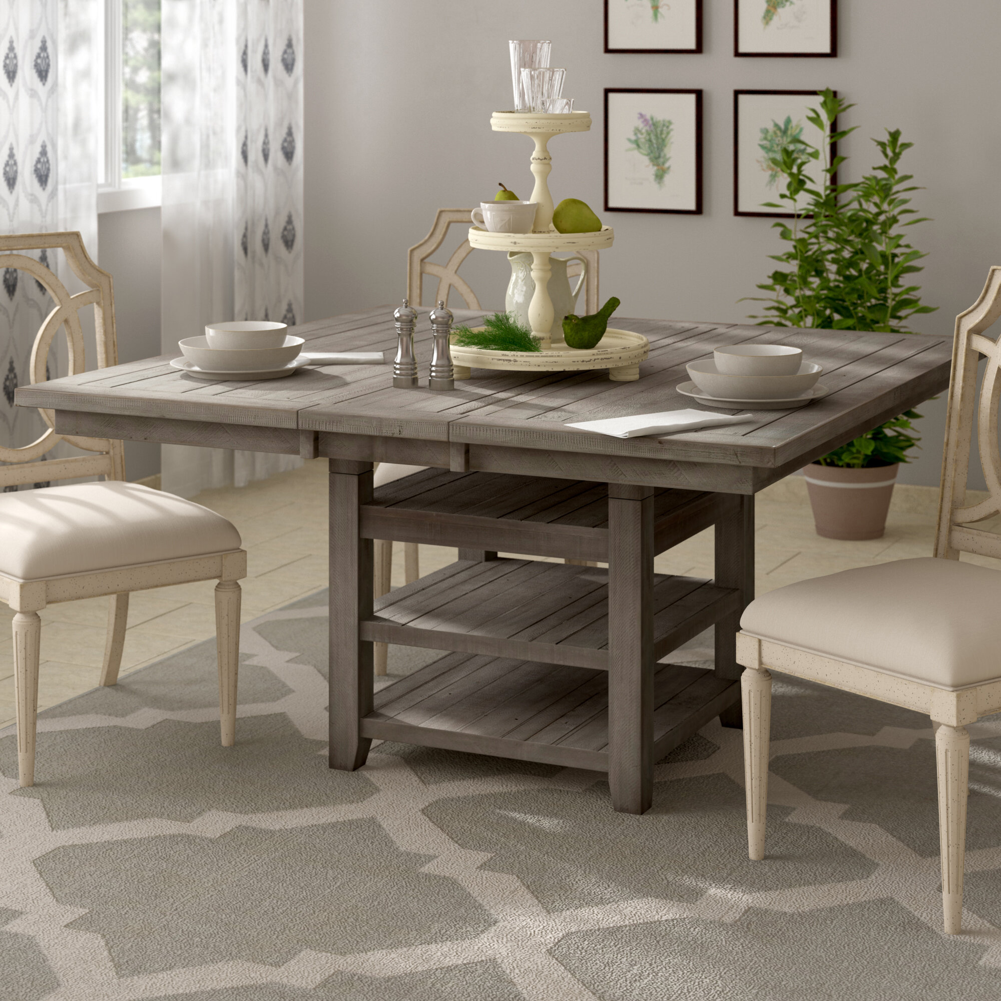 Canora Grey Grygla Extendable Pine Solid Wood Dining Table Reviews Wayfair