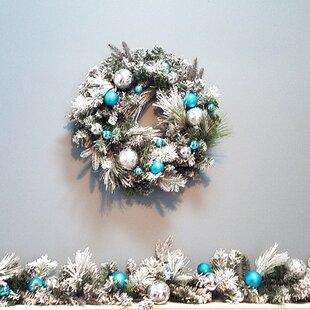 christmas ornaments ball snowy wreath - Blue Christmas Wreath