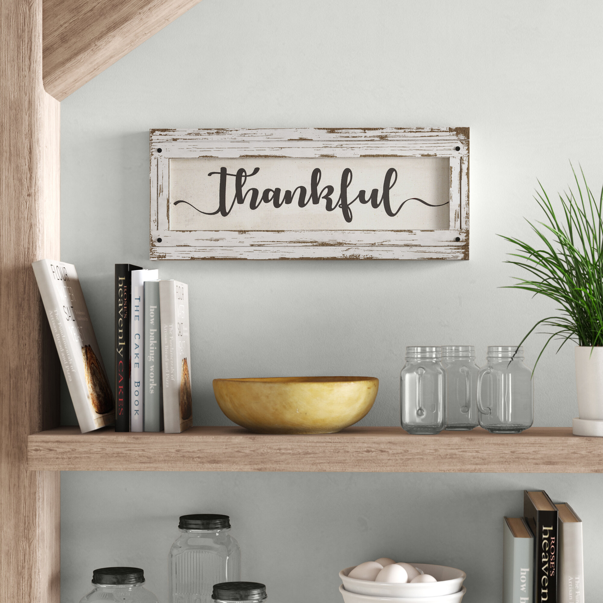 Ann Collectoin Thankful Wood Framed Inspirational Canvas Sign Farmhouse Wall Decor Reviews Birch Lane