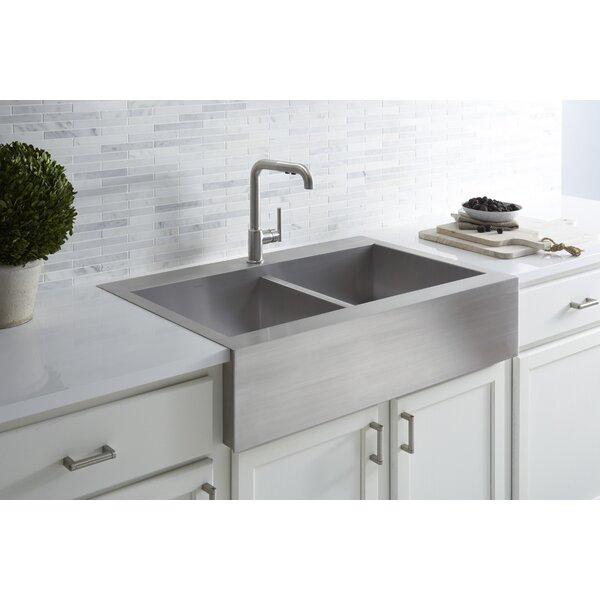 "Top Mount Stainless Steel Kitchen Sinks kohler vault 35-3/4"" x 24-5/16"" x 9-5/16"" top mount double bowl"