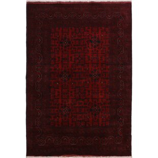 One-of-a-Kind Cremeans Hand-Knotted 5'1 x 6'6 Wool Red/Black Area Rug Isabelline