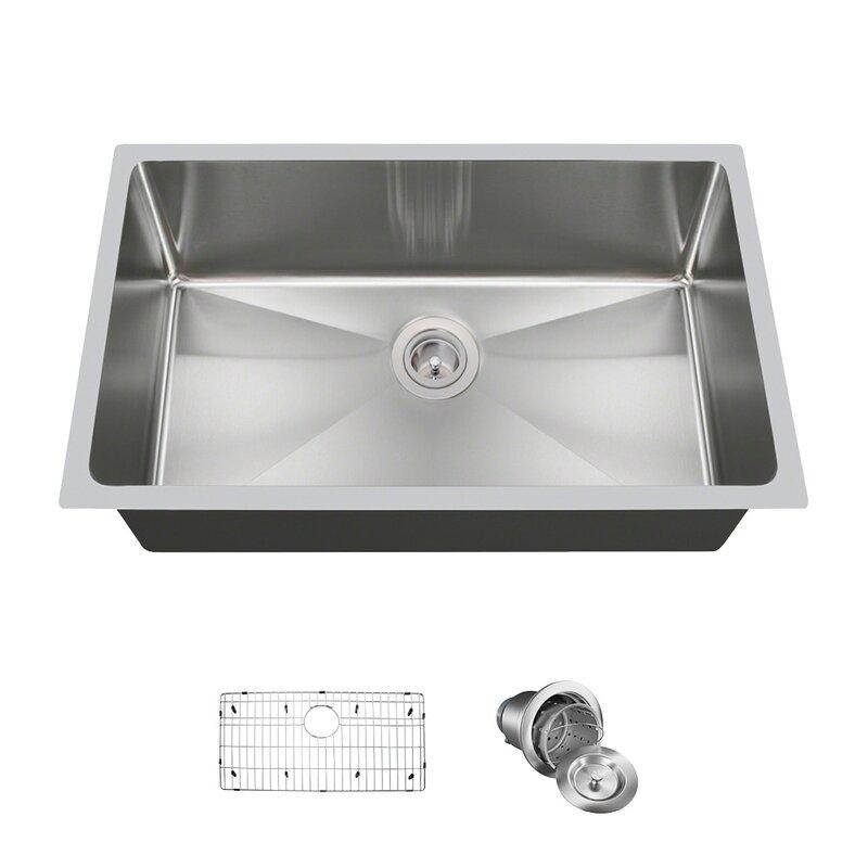 "Stainless Steel 31"" x 18"" Undermount Kitchen Sink With Additional Accessories"