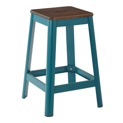 "Achilles Bar & Counter Stool Breakwater Bay Frame Color: Teal, Seat Color: Darkwood, Seat Height: Counter Stool (25.75"" Seat Height)"