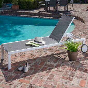Highland Dunes Ullman Adjustable Chaise Lounge With Beige Cushions Reviews Wayfair