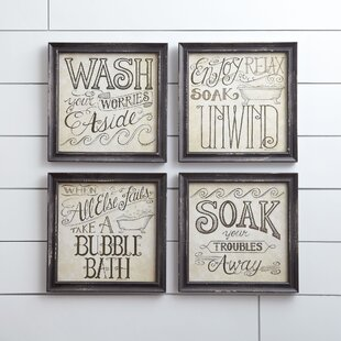 Bath Time Wall Framed Print (Set Of 4)