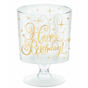 Birthday Pedestal Plastic Disposable Dessert Cup (Set of 60)