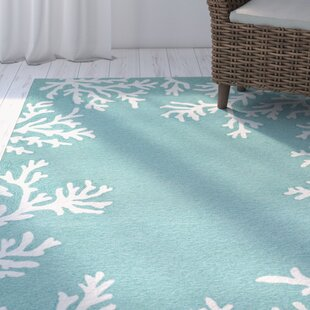 Claycomb Coral Border Hand-Tufted Aqua Indoor/Outdoor Area Rug