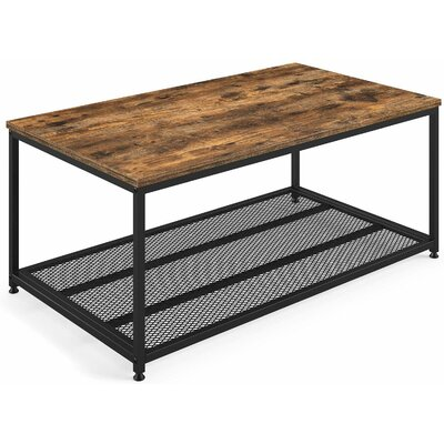 Industrial Coffee Table With Storage Shelf- Rustic Brown by Ballucci Herry Up
