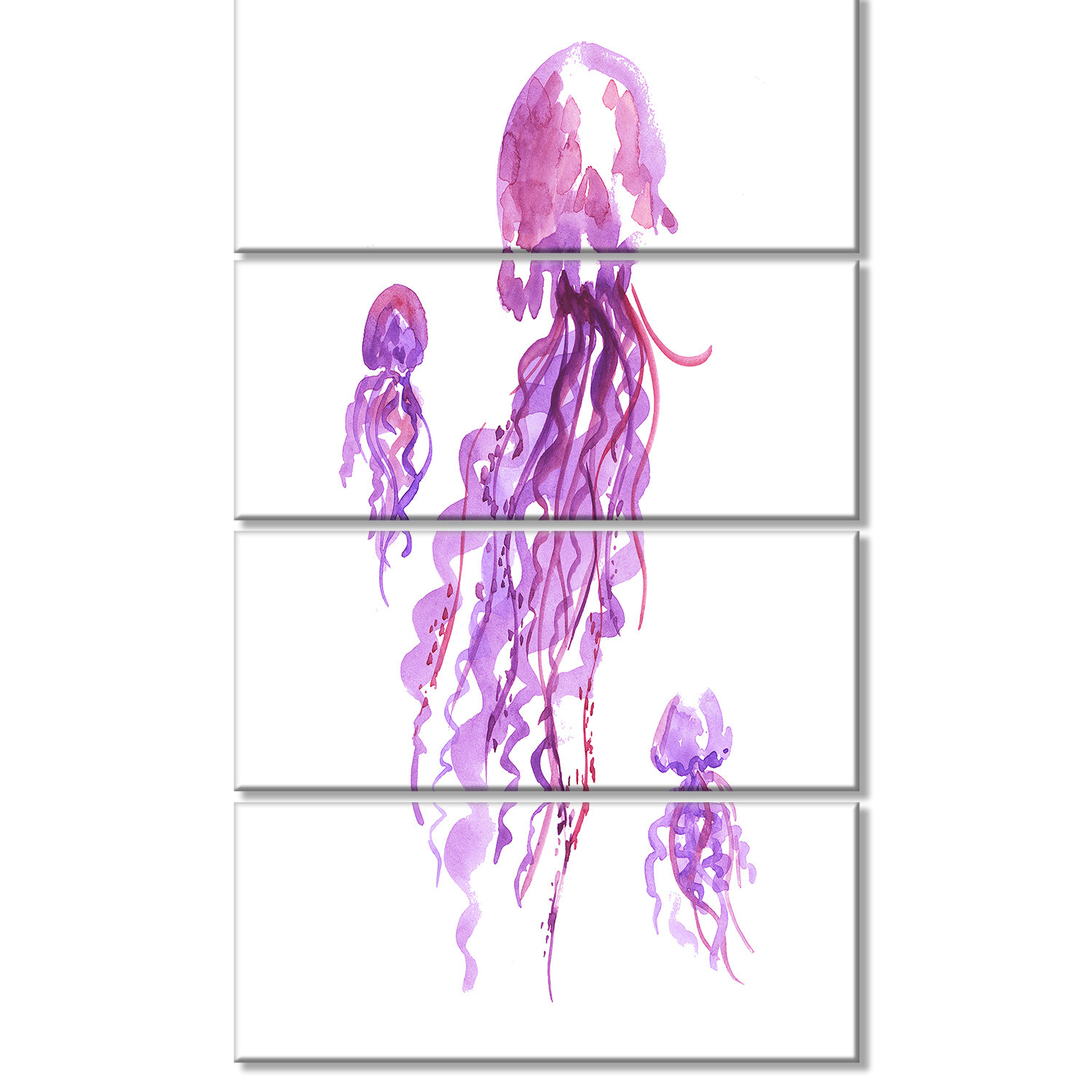 Designart Purple Jellyfish Watercolor 4 Piece Painting Print On Wrapped Canvas Set Wayfair