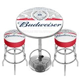Budweiser Label Game Room Combo 3 Piece Pub Table Set by Trademark Global