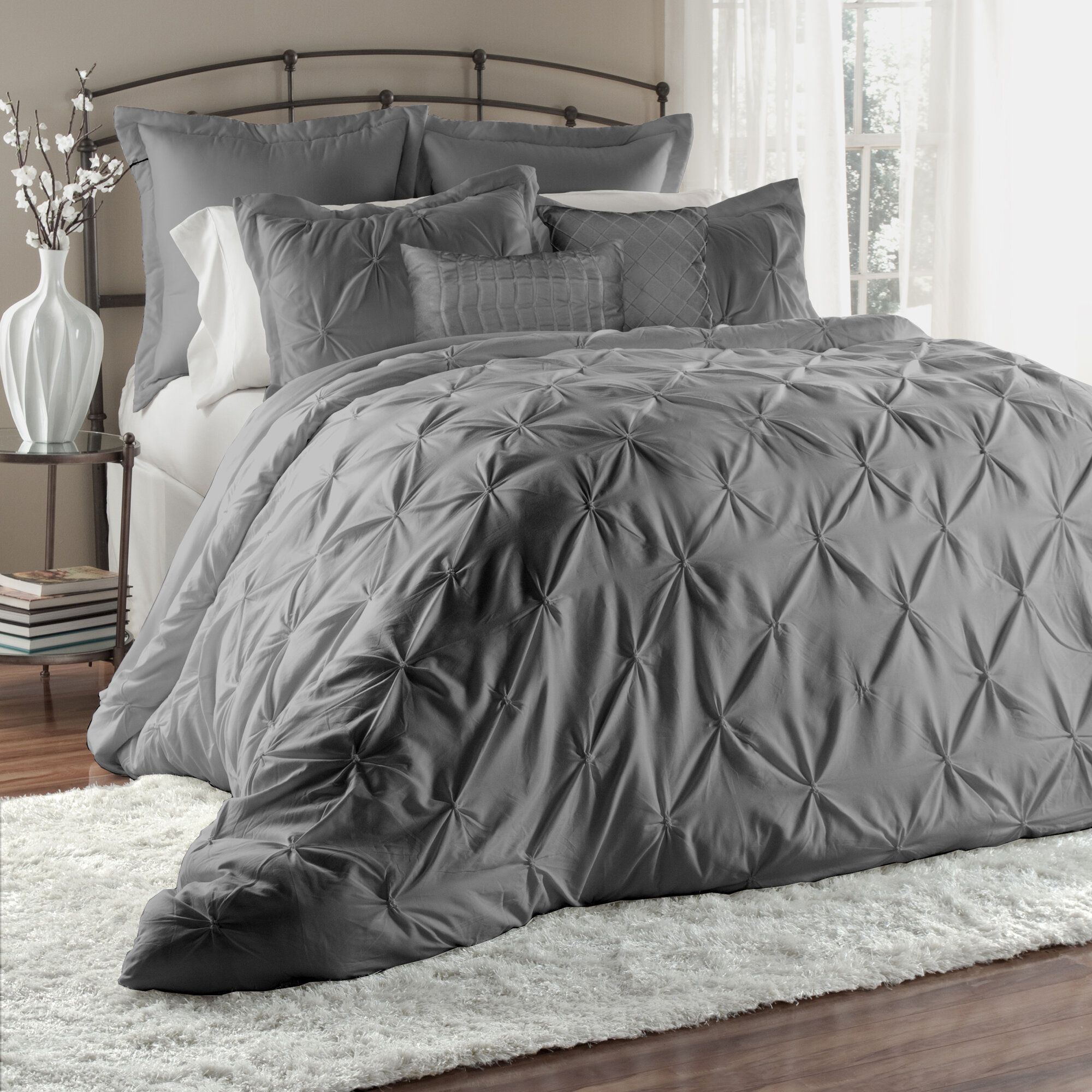 bedspread comforter bedding ruffle overstock product free matte serent today shipping bath satin set
