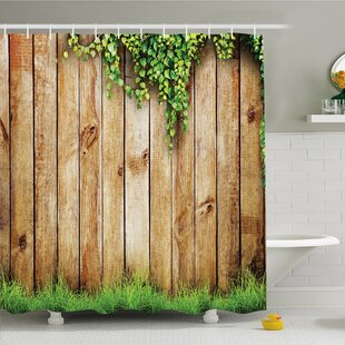Rustic Home Fresh Spring Grass and Leaf Plant over Old Wood Fence Garden Field Photo Shower Curtain Set Ambesonne