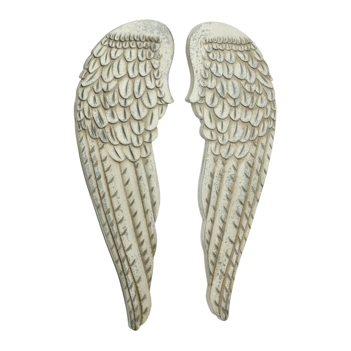 2 Piece Distressed Angel Wings Wood Wall Décor Set