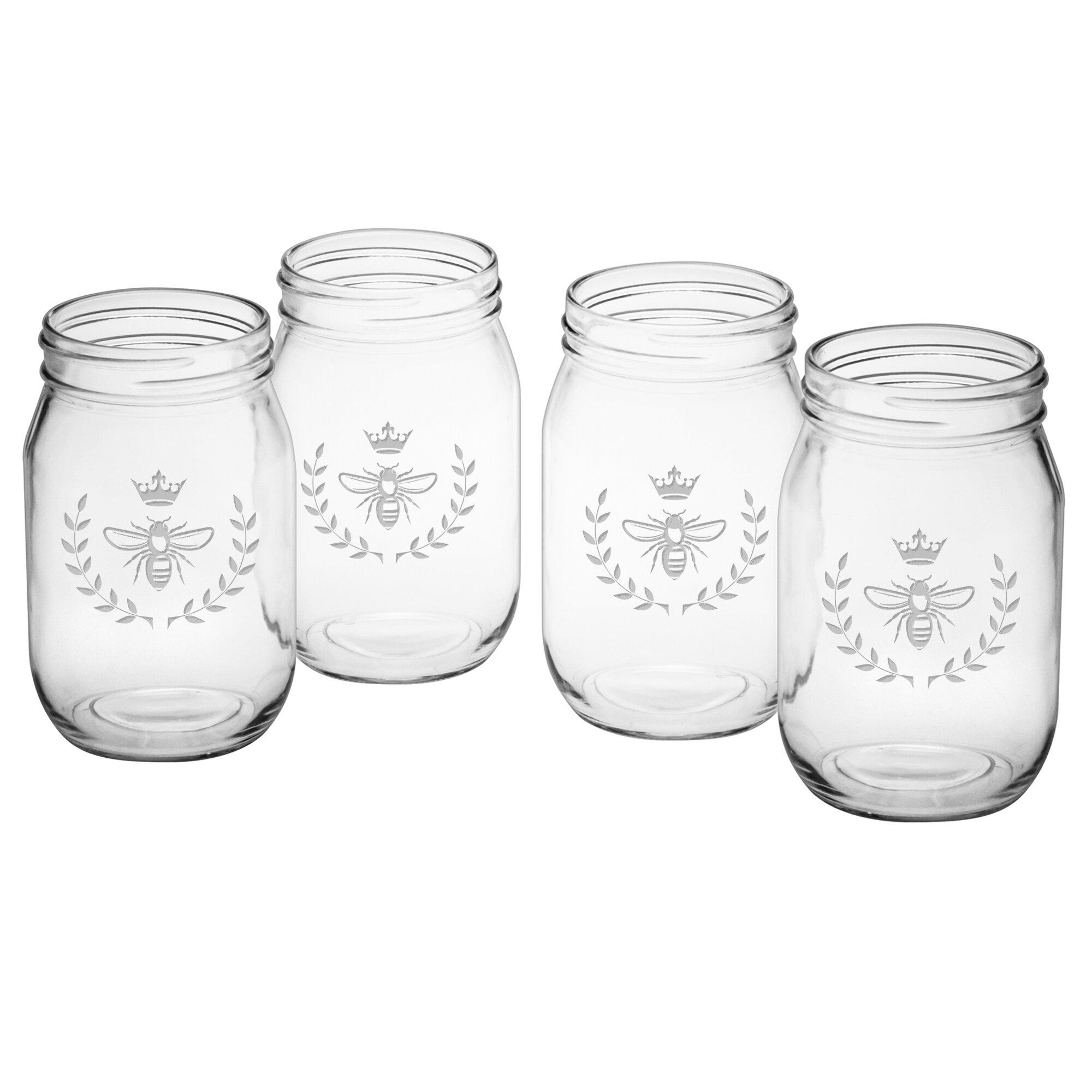 sighild vintage bee 16 oz glass mason jar