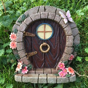 Decorative Fairy Hobbit Style with Flowers And Butterfly Garden Door Statue