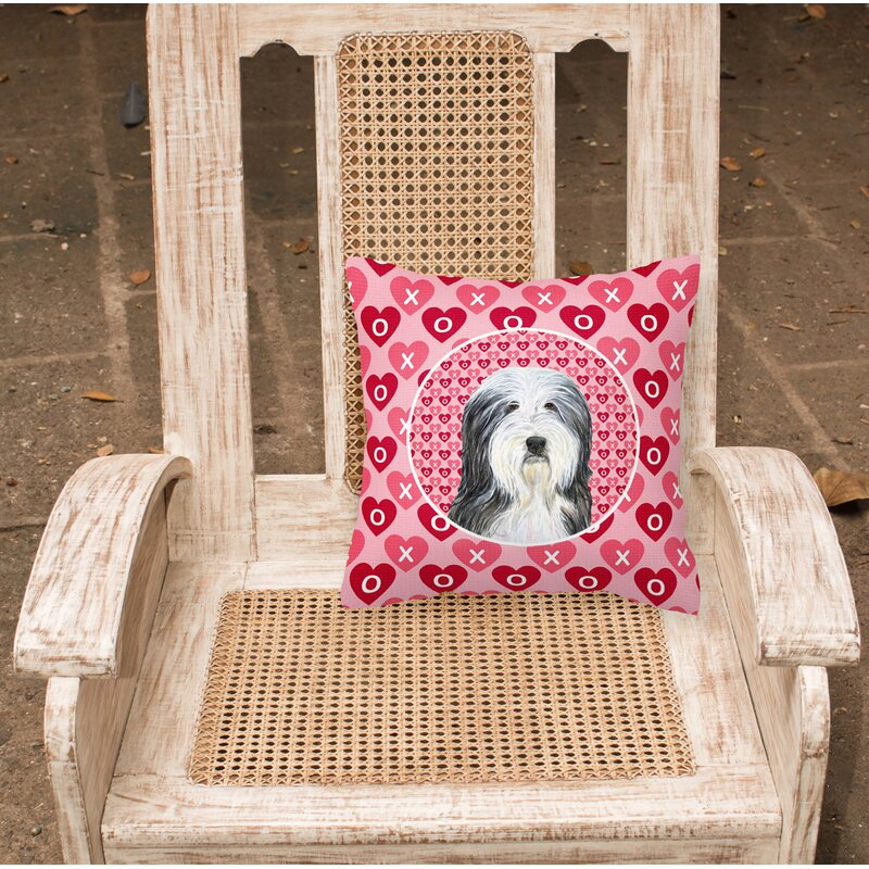 The Holiday Aisle Macri Bearded Collie Hearts Love And Valentine S Day Portrait Indoor Outdoor Geometric 14 Throw Pillow Wayfair