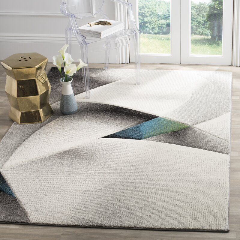 Orren Ellis Anne Abstract Power Loomed Gray Teal Area Rug
